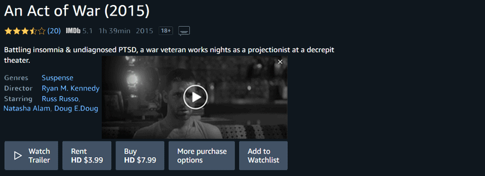 'An Act of War' on Amazon Prime
